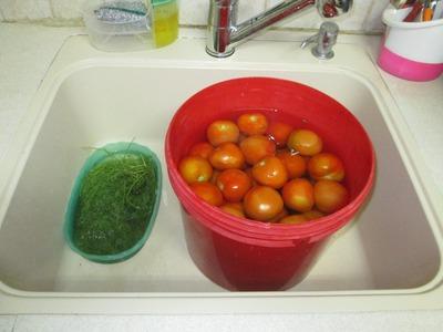 Маринованные зеленые помидоры в ведре