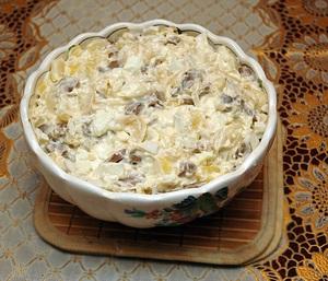 Рецепт салатов из консервированных шампиньонами